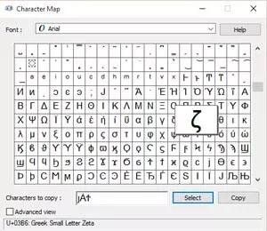 Nhấn chọn kí tự và copy
