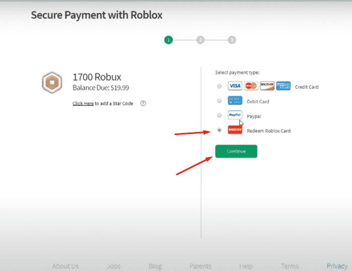 Chọn Redeem Roblox Card và chọn Continue.